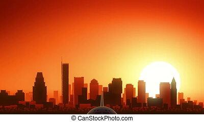 Boston Massachusetts USA America Skyline Sunrise Take Off -...