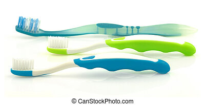 Three color toothbrushes