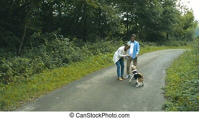 Senior couple with dog on a walk in green summer nature -...