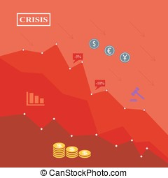 Economic crisis illustration, red background, financial fall