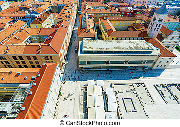 Ariel view of Zadar - View of the old town of Zadar