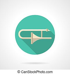 Trombone round flat color vector icon - Classical trombone a...