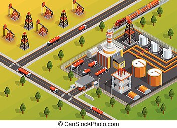 Oill Industry Refinery Facility Isometric Poster - Petroleum...