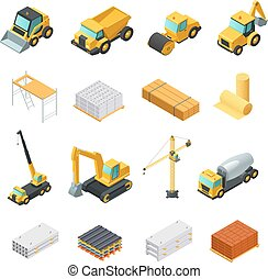 Isometric Construction Icons Set - Colorful isometric...