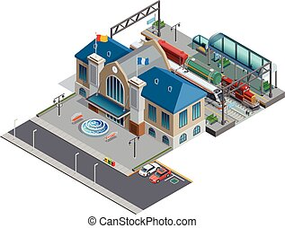 Train Station Isometric Miniature - Isometric miniature of...