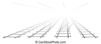 Black Outline of tracks, sleepers and turnouts at the...