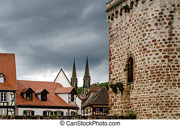 Old historical center of Obernai evening view, Alsace,...