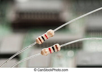resistors - closeup 1K or 1000 Ohms resistors against...