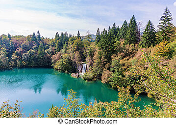 Plitvice lakes - beautiful scenic view of Plitvice lakes