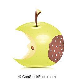 Eated rotten apple. Vector illustration.
