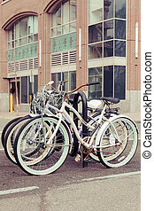 Bicycles in Hoboken - Bicycles parked in a bike rack along...