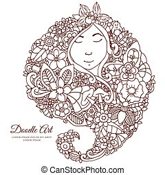 Vector illustration zentangl girl with flowers in her hair. Doodle drawing. A meditative exercises. Coloring book anti stress for adults. Brown white.