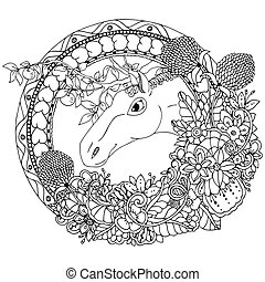 Vector illustration zentangl the horse in a round floral...
