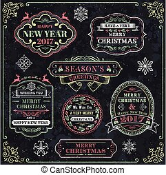Christmas Chalkboard Vector Labels - Collection of Elegant...