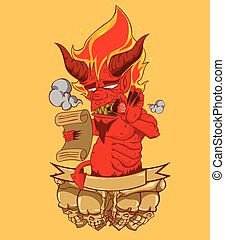 Red Devil head vector and illustration. monster in Halloween...