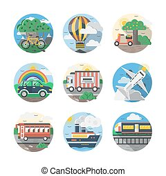 Mode of transport color detailed vector icons set - Set of...