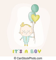 Baby Girl with Balloons - Baby Shower or Arrival Card - in...