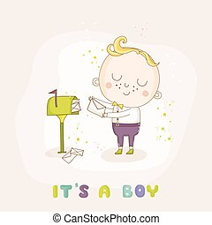 Baby Boy with Mail - Baby Shower or Arrival Card - in vector