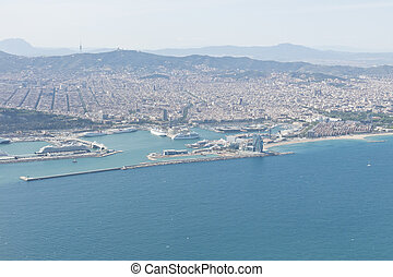Panoramic view of Barcelona and port in Spain. You can see...
