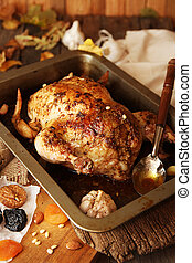 Roasted small turkey for celebration Thanksgiving day in...