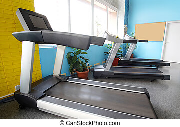 fitness hall with treadmill