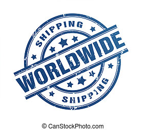 worldwide shipping rubber stamp illustration isolated on...
