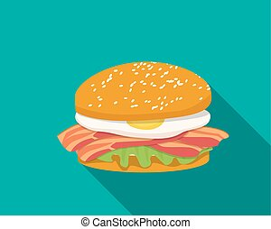 Bacon sandwich with egg in flat style, vector