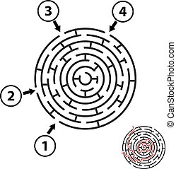 Vector round maze / labyrinth. Isolated on white