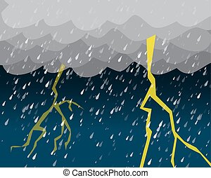 Heavy rain and lightening in dark sky, vector