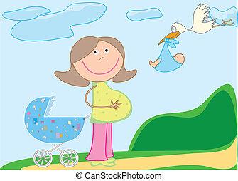 babakocsi, terhes, gólya, csecsemő