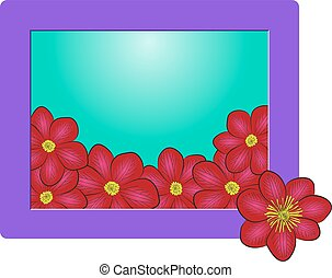 flowers frame - frame with dark red clematis flowers, floral...