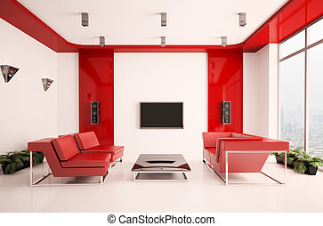 Living room interior 3d - Modern living room with lcd...