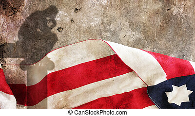 Thinker Shadow. Stars and Stripes on Concrete