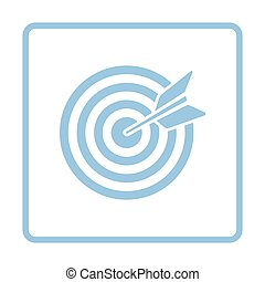 Target with dart in bulleye icon. Blue frame design. Vector...