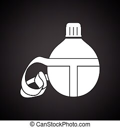 Touristic flask icon. Black background with white. Vector...