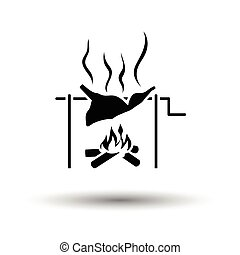 Roasting meat on fire icon. White background with shadow...