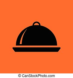 Restaurant cloche icon. Orange background with black. Vector...