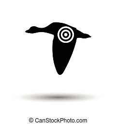 Flying duck silhouette with target icon White background...