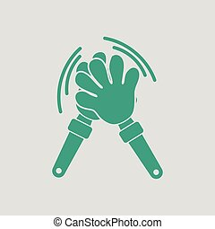 Football fans clap hand toy icon. Gray background with...