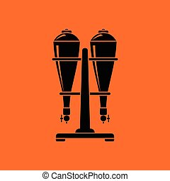 Soda siphon equipment icon. Orange background with black....