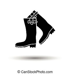 Hunter's rubber boots icon. White background with shadow...