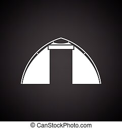 Touristic tent icon. Black background with white. Vector...