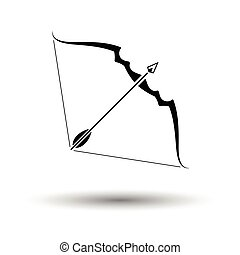 Bow and arrow icon. White background with shadow design....