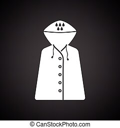 Raincoat icon. Black background with white. Vector...
