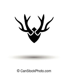 Deers antlers icon White background with shadow design...