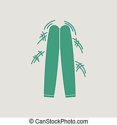 Football fans clapping sticks icon. Gray background with...