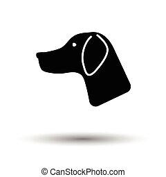Hunting dog had icon. White background with shadow design....