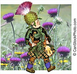 Thistle Children Flower - Illustration of children...