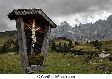 cross in the karwendel alps