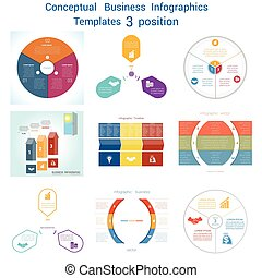 Set Infographics conceptual cyclic processes three positions...